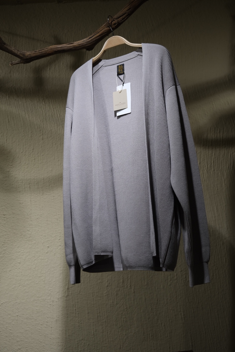 바토너 Batoner High Count Rib Cardigan - Light Grey