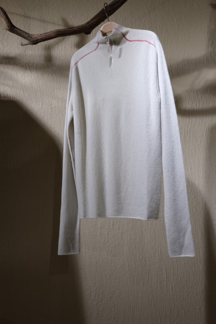써네이 Sunnei Half Zip-up Knit - Off White