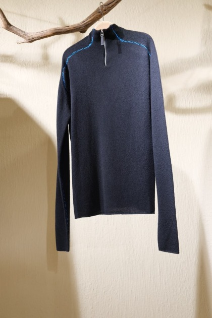 써네이 Sunnei Half Zip-up Knit - Black