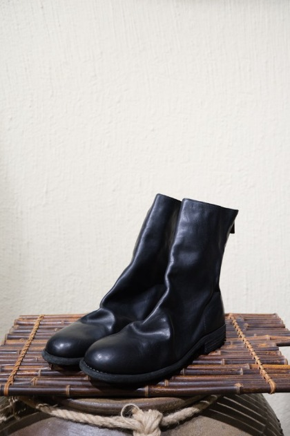 구이디 GUIDI 988 Horse Full Grain Back Zip Boots - Black