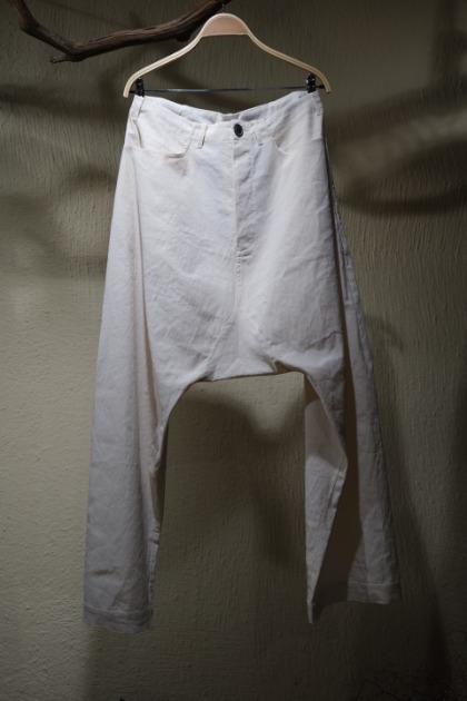 Jan Jan Van Essche 얀 얀 반 에쉐 - Trousers #58 IVORY CORSE GRAINED COTTON/LINEN