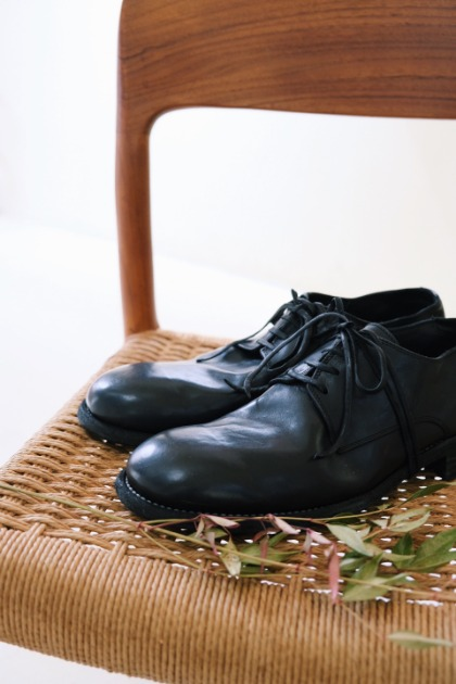구이디 GUIDI 992 Horse Full Grain Derby - Black