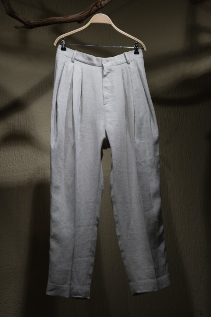 헤드 메이너 Hed Mayner 4 Pleats Signature Trousers - Ecru Herringbone Linen