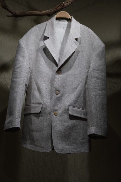 헤드 메이너 Hed Mayner Single Breasted Falling Shoulder Jacket - Taupe Herringbone Linen
